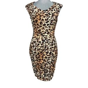 MARVIN RICHARDS Leopard Ruched Bodycon Dress